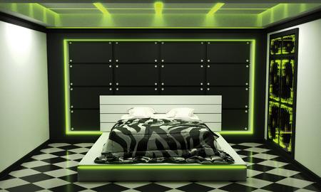 Sci-fi concept bed room interior modern style - green light. 3D rendering Banco de Imagens