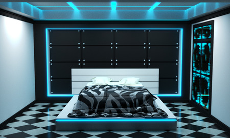 Sci-fi concept bed room interior modern style. 3D rendering