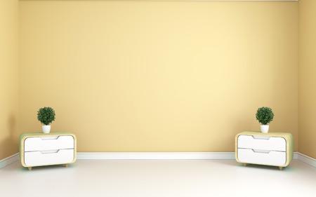 Yellow room - Beautiful room, Empty room , Modern bright interior. 3D rendering 写真素材