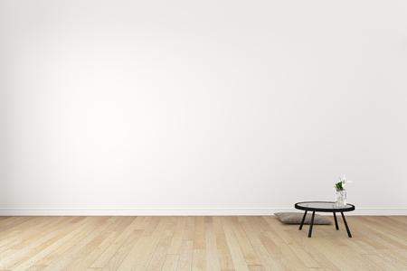Japanese - Living Room Interior on empty white wall background - minimal design, 3D rendering Stock fotó