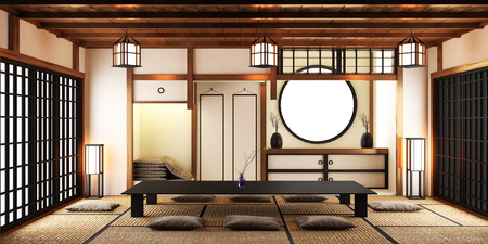 Japanese style room interior design. 3D rendering