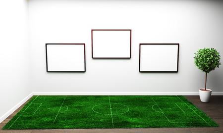 Hierba en salón blanco. Representación 3D