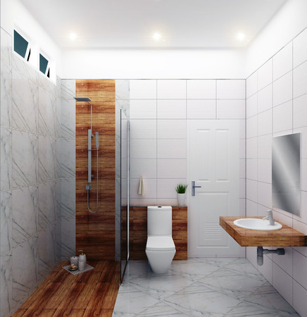 Bright bathroom Design tiles white modern style. 3D rendering Banco de Imagens