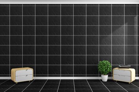 Black tiles modern style on black tiles wall and floor design. 3D rendering 写真素材