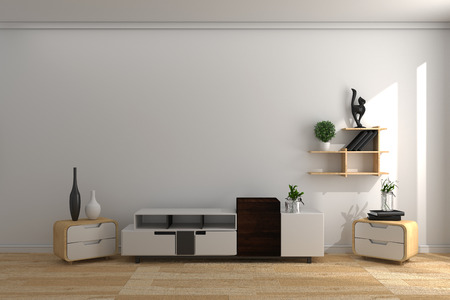 Cabinet wooden in room Japanese style . 3D rendering