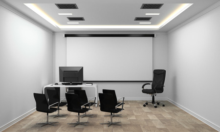 Board room - empty office concept , business interior with chairs and plants and wooden floor on white wall empty. 3D rendering Standard-Bild - 110171951