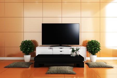 TV in modern living room,yellow tiles design colorful. 3D rendering