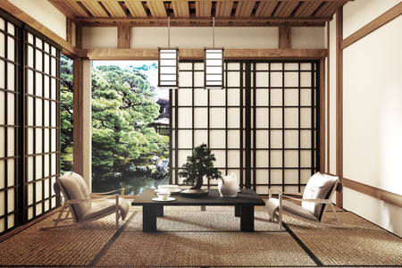 Mock up - modern living room, Japanese style. 3d rendering Banco de Imagens - 113477387