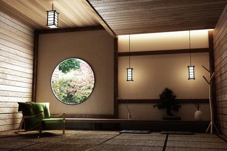 Stile Zen - stanza giapponese vuota con sedia, lampada, albero bonsai e pavimento in tatami sulla parete moderna finestra in legno vista. Rendering 3D