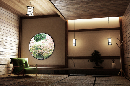 Zen style - empty Japanese room with chair,lamp,bonsai tree and tatami mat floor on wall modern wooden window view. 3D rendering