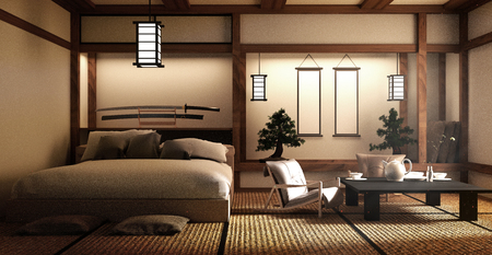 Diseñado específicamente en dormitorio de estilo japonés y decoración de estilo japonés. Representación 3D