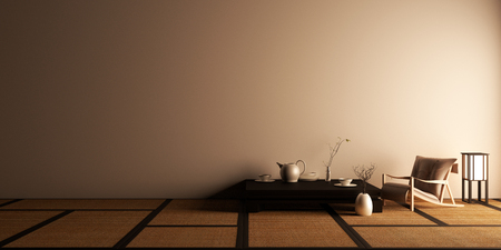 Mock up, Designed specifically in Japanese style, empty room. 3D rendering Фото со стока
