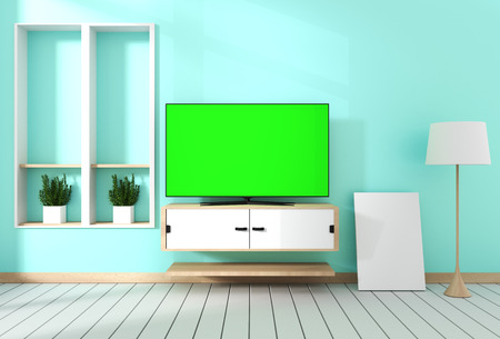 Smart Tv with blank green screen hanging on cabinet design, modern living room with mint wall on white wooden floor. 3d rendering - Illustration 写真素材