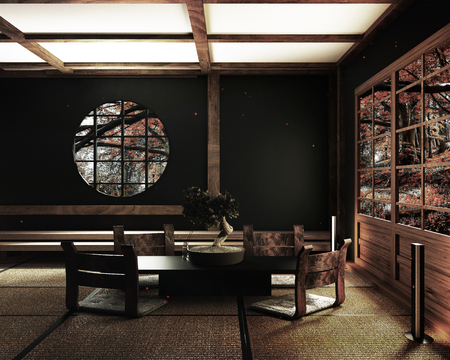 Room Design Japanese-style. 3D rendering - Illustration