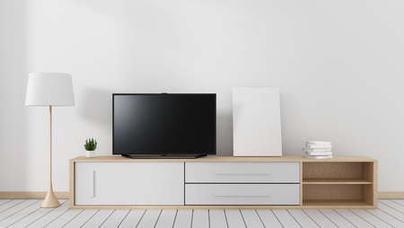 mart Tv with blank black screen hanging on the carbinet, modern living room with wooden white floor. 3d rendering