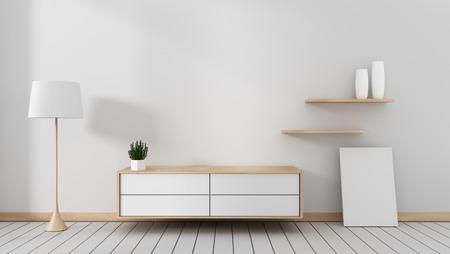 Mueble de televisión en la moderna habitación vacía japonesa - estilo zen, diseños mínimos. Representación 3D