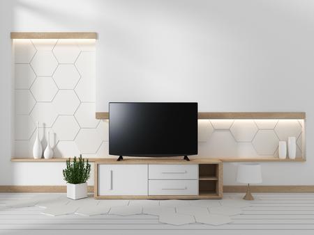 Smart TV en el gabinete en la sala de estar japonesa con plantas sobre fondo de diseño de pared hexagonal, renderizado 3d
