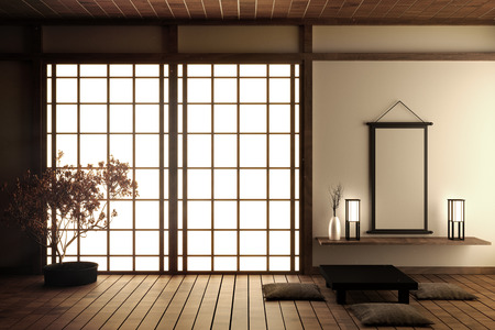 Japanse woonkamer met houten vloer en witte muur met decoratie Japanse stijl, 3D-rendering