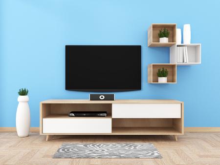 Smart Tv con pantalla negra en blanco colgada en el diseño del gabinete, sala de estar moderna con piso. Representación 3d Foto de archivo