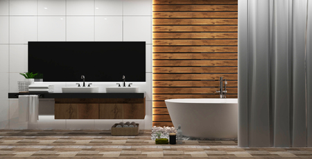 White tile and wood wall bathroom interior with a round white tub, zen style. 3d rendering