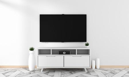 Smart TV Mockup mit leerem schwarzem Bildschirm, der an der Schrankdekoration hängt, moderner Wohnzimmer-Zen-Stil. 3D-Rendering