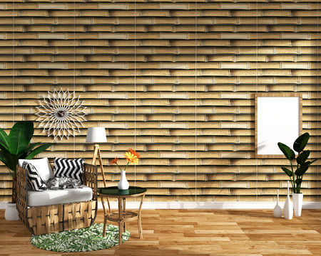 tropical design,armchair,plant,cabinet on wood floor and bamboo tile background.3 d rendering