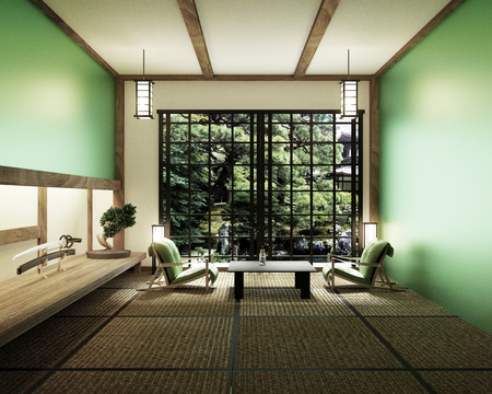 interior design,modern living room with table katana sword lamp and bonsai tree on room tatami mat floor,The design is hard to find. 3d rendering