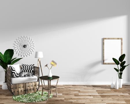 tropical modern living room interior minimal designs, 3d rendering.