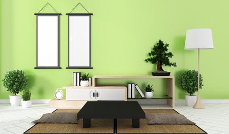 interior green Room Design Japanese-style. 3D rendering