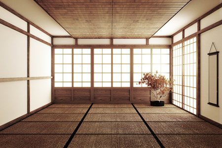 Designing the most beautiful Mock up, Designed specifically in Japanese style, empty room. 3D rendering