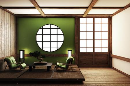 Design della camera in stile zen. Rendering 3D