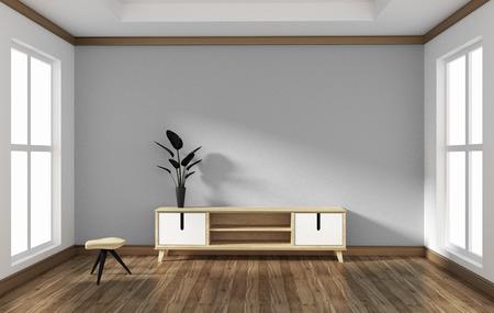 Smart TV in empty style room design .3D rednering Stock Photo