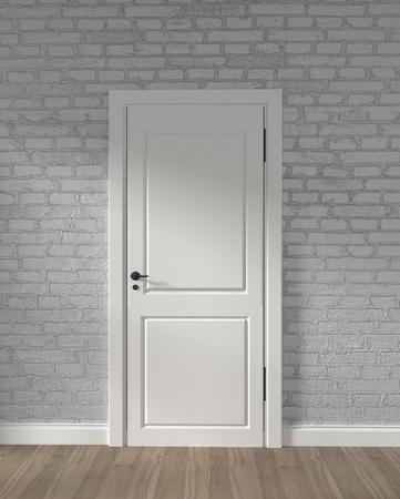 Modern loft white door and white brick wall on wooden floor. 3D rendering 写真素材