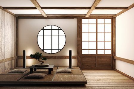 Japanese display Room interior, wooden flooring on light White background. 3D rendering Stock Photo