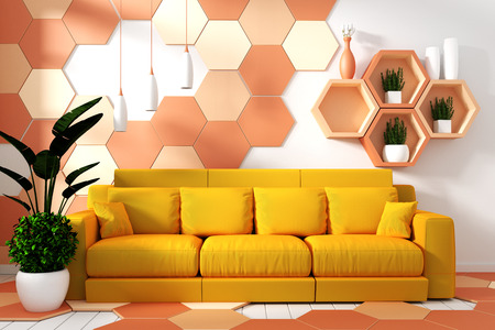 modern living room interior with armchair decoration and green plants on hexagon yellow and orange tile texture wall background,minimal design, 3d rendering Stock Photo