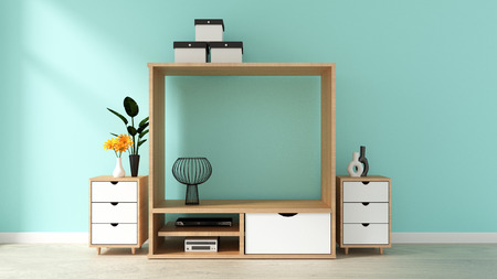 Tv cabinet design with mint brick wall on white wooden floor. 3d rendering