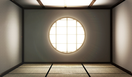 room empty with Tatami mats and paper window on room zen style.3D rendering