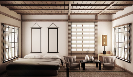 Interior Luxury modern Japanese style bedroom mock up, Designing the most beautiful. 3D rendering Stock Photo - 120313815
