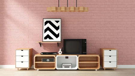 Cabinet Mockup on pink brick wall in japanese living room. 3d rendering Banco de Imagens