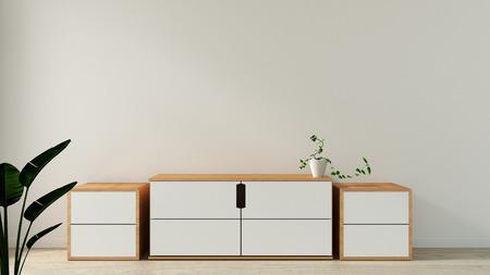 cabinet in modern empty room Japanese style,minimal designs. 3D rendering