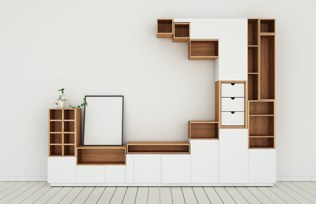 Cabinet design mockup in modern empty room,white floor wooden on white wall room japanese style.3d rendering