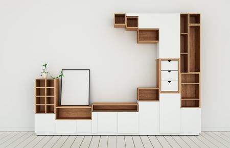 Mockup di design dell'armadio in una moderna stanza vuota, pavimento bianco in legno su parete bianca in stile giapponese. Rendering 3d