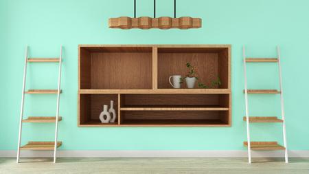 Tv shelf in green room modern tropical style - empty room interior - minimal design. 3d rendering