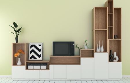 Tv shelf in yellow room modern tropical style - empty room interior - minimal design. 3d rendering 写真素材