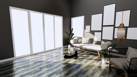 Modern interior with sofa and arm chair on room dark Wall and floor wooden tiles. 3D rendering Stock Photo