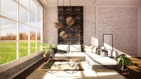 Loft modern interior designed as a open plan modern apartment. 3D rendering