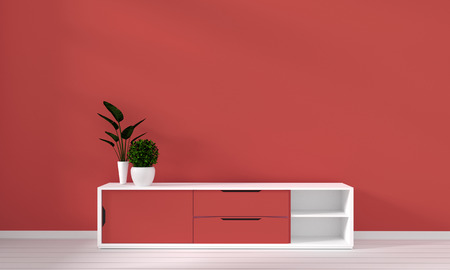 Coral cabinet in modern living room coral color and decoration. 3D rendering