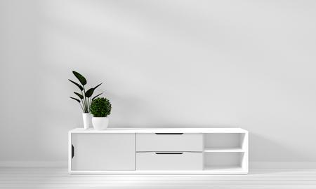 Japan white room interior design,white living room. 3d illustration, 3d rendering