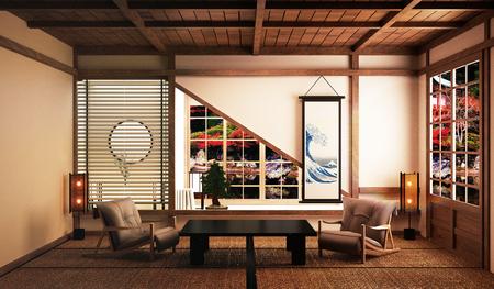 interior design,Japanese living room family very luxury.3D rendering Stock Photo