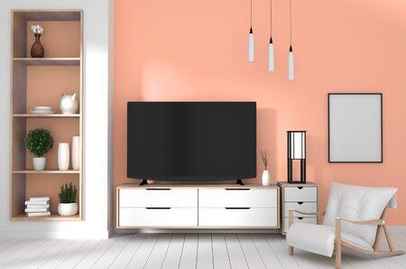 TV auf Schrank im modernen Wohnzimmer mit Lampe, Pflanze auf rotem Wandhintergrund, 3D-Rendering Standard-Bild